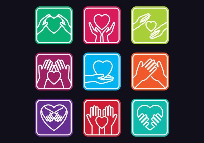 Set d'icônes de gentillesse vecteur