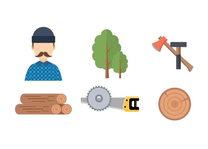 Woodcutter Icon Set Free Vector