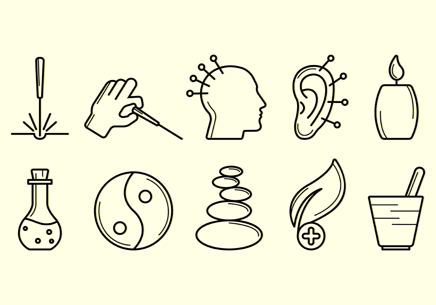 set of acupuncture icon download free vector art stock
