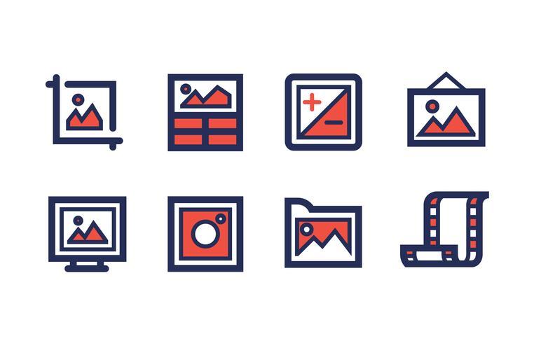 Fotografi Ikon Set med Duotone Färger
