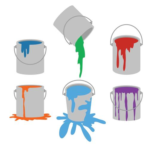 Paint pot vector set