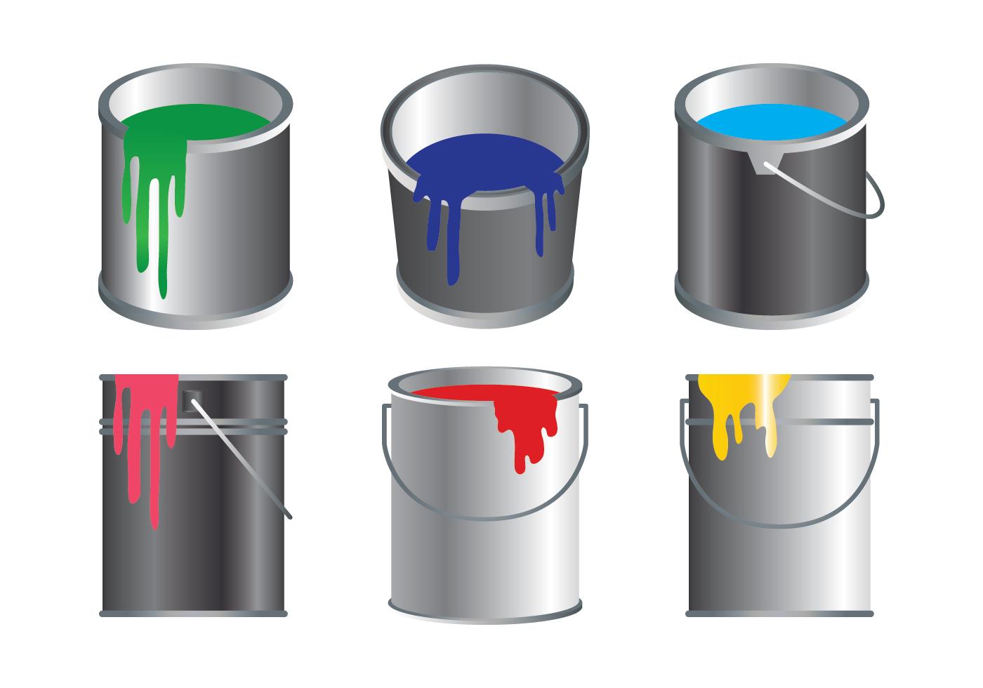 paint pot icons set download free vector art stock