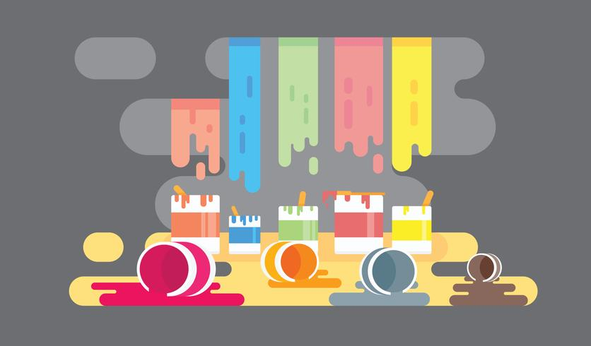 Colorful Paint Pot Background Vector Flat Illustration