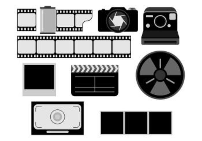Sats av foto negativ ikon