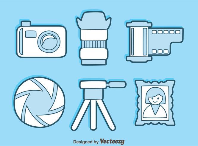 Camera Element blauwe pictogrammen Vector
