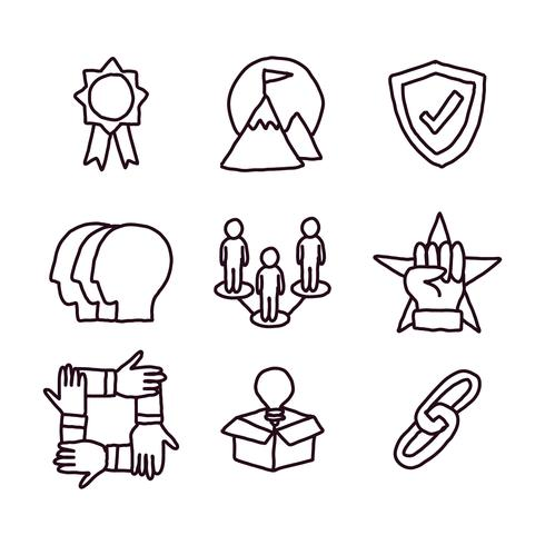 Social Responsibility Doodled Icons