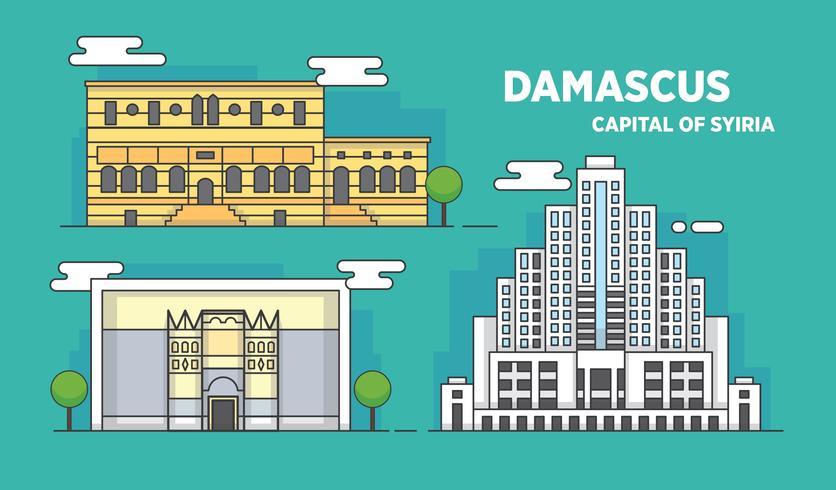 Ilustración del vector del edificio de la ciudad de la señal de Damasco