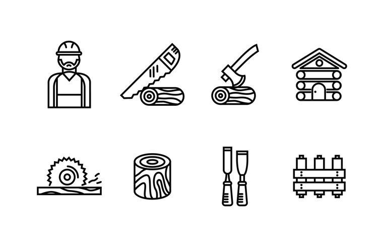 lumberjack icon set vektor