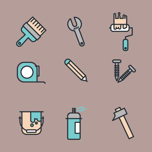 Blue And Yellow Icons For Fixing A House