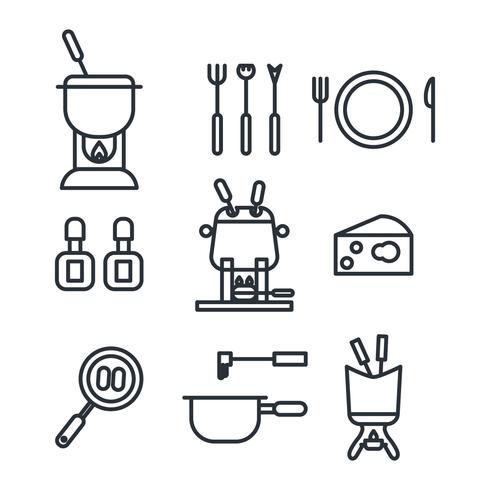 Outlined Fondue Icons