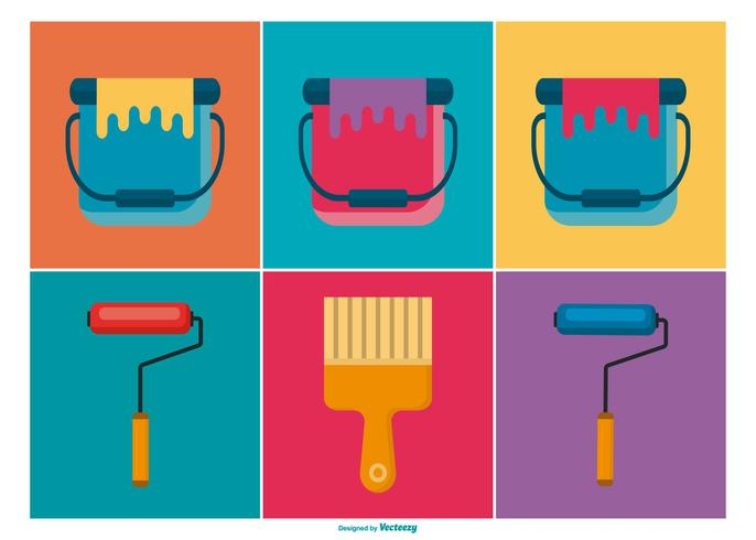 Paint Brushes and Buckets Icon Collection vector