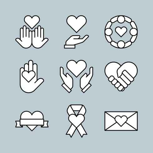 Thin Line Style Charity Icons Set vector
