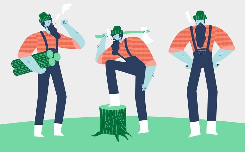 Illustrazione piana di vettore di Lumberjack Woodcutter Character