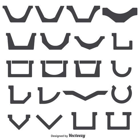 Conjunto de vetores de formas de calha de telhado