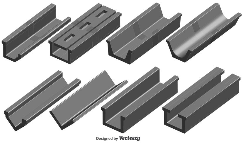 Vector Set Of 3d Roof Gutter Elements