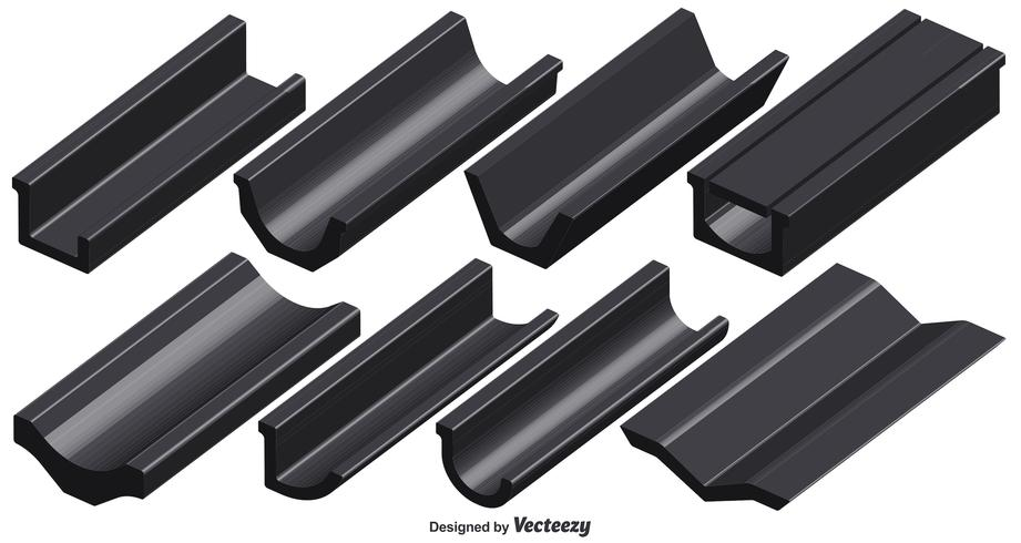 Vektor Set Of 3D Roof Gutter Elements