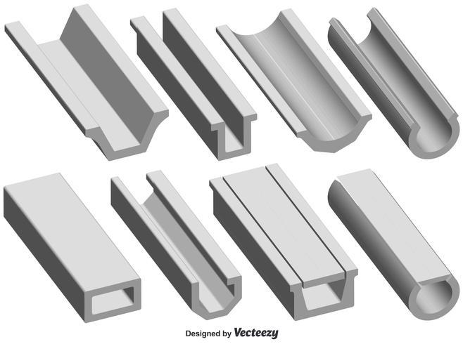 Vector conjunto de forma de canal de techo 3d