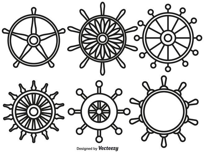 Vector Set Of Ship Wheels Line Style Icons