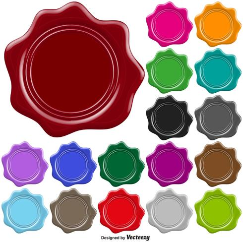 Set Of Colorful Stamp Wax Seal - Vector