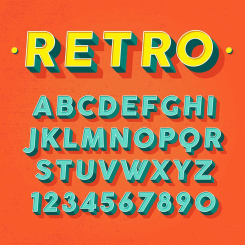 Retro 3D Font Vector - Download Free Vector Art, Stock Graphics & Images