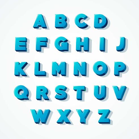 Fuente Blue 3D Alphabet vector