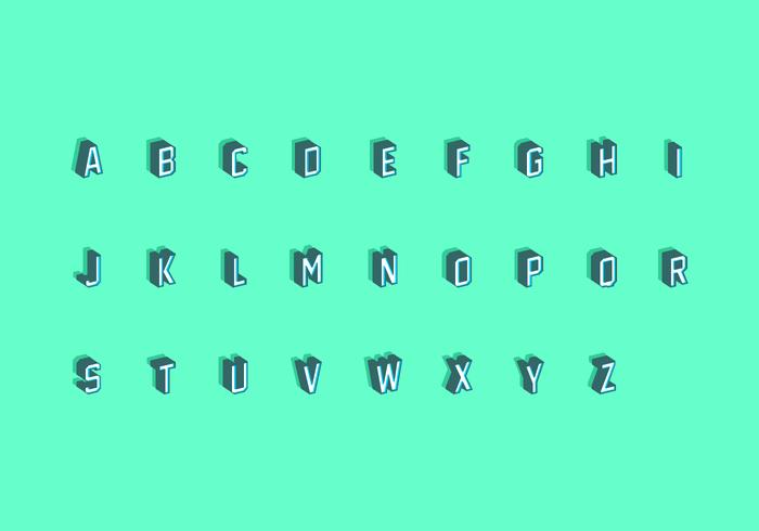 3D Isometric Fonts Free Vector