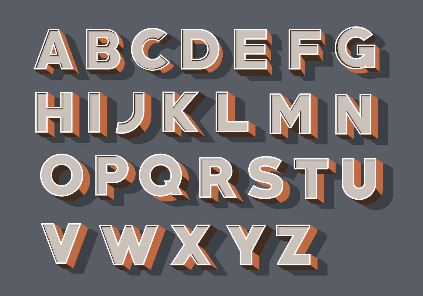 3D Fonts Vector Pack