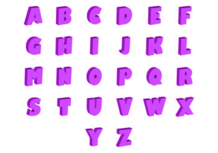 Set Of 3D Fonts Vector