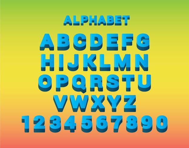 Blue 3D Font Vector Set