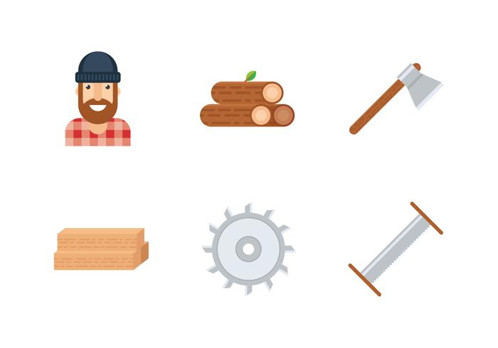 woodcutter icon set