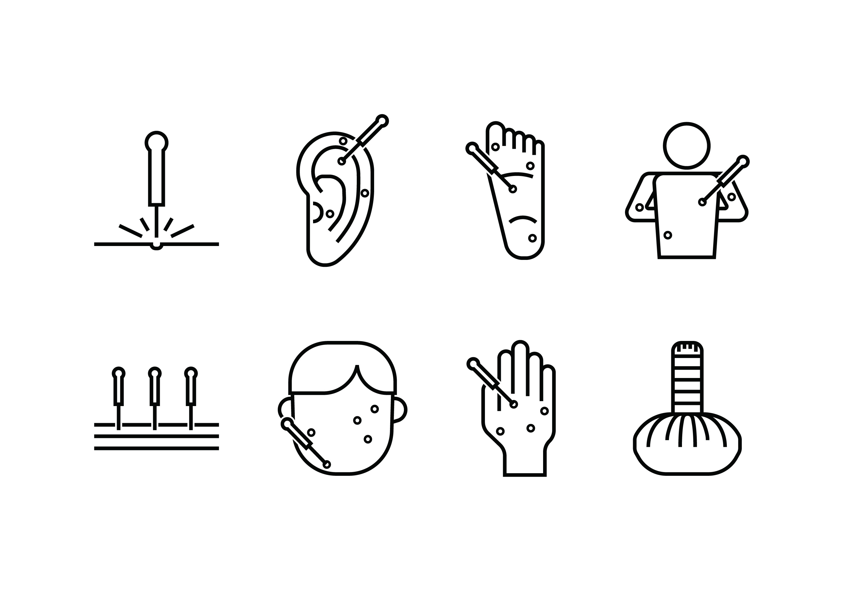 acupuncture set icon download free vector art stock