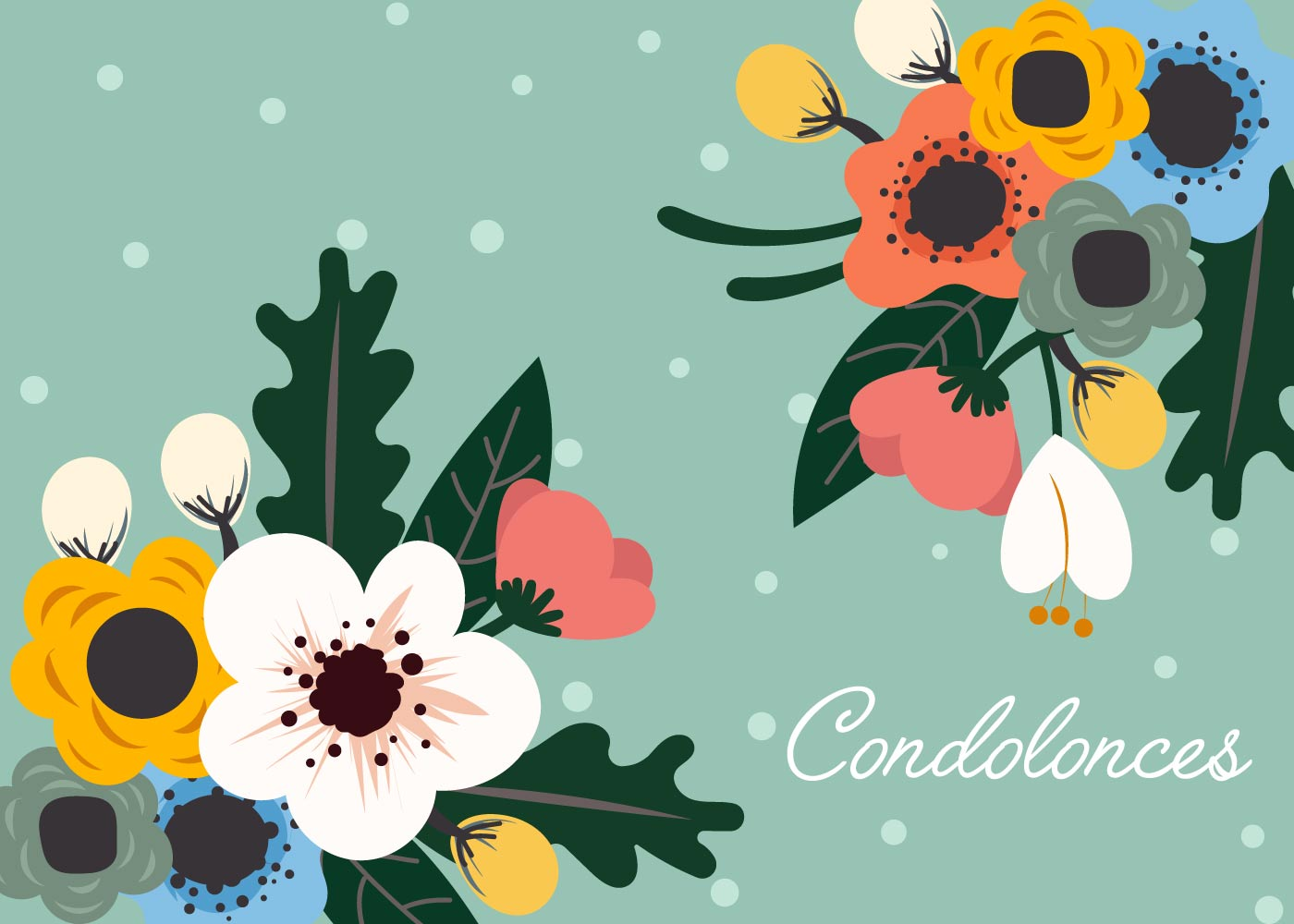 Floral Card For Condolences Vector Download Free Vector Art Stock