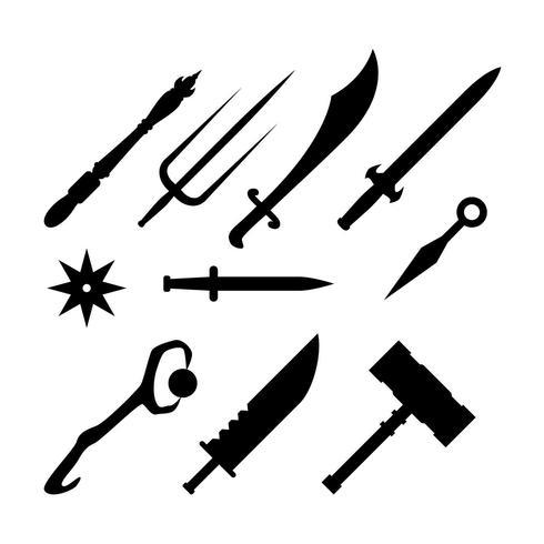 Gratis Silhuett Spel Vapen Ikon Vector