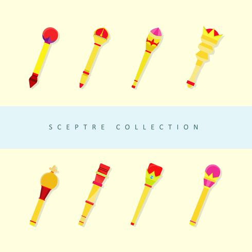 Golden Scepter Flat Vector Collection