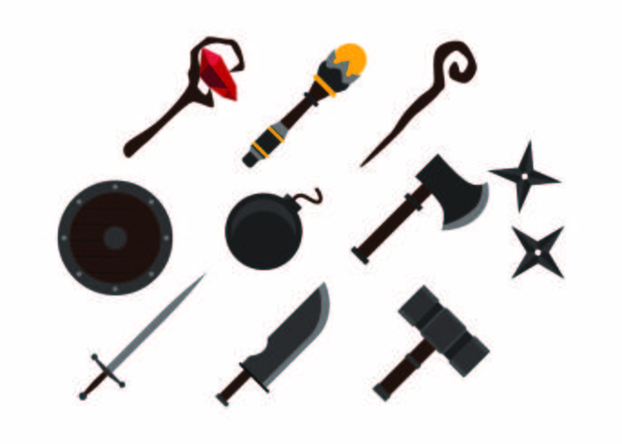 Free Colorful Games Weapon Icon Vector