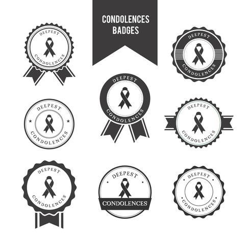 Condolences Badges Vector