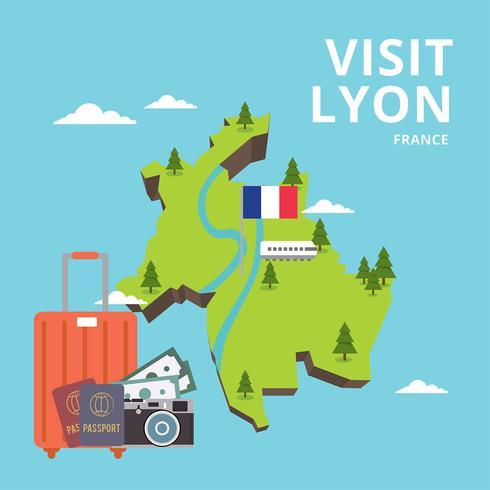 Visit Lyon France Free Vector