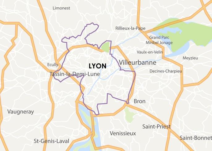 Mapa da cidade de Lyon