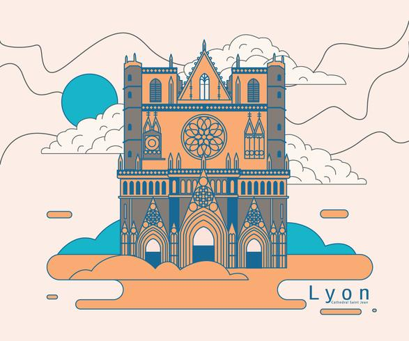 Lyon Cathedral Saint Jean Vector