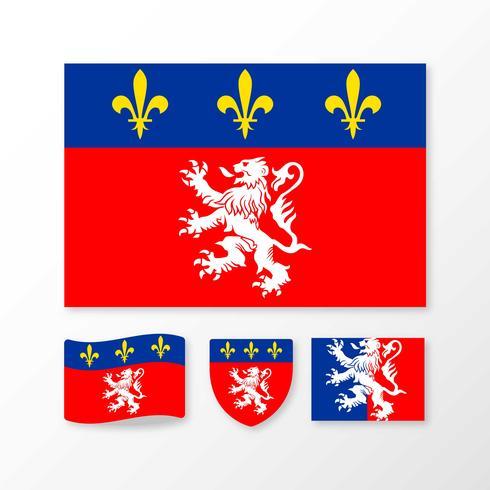 Flagga av Lyon vektorer