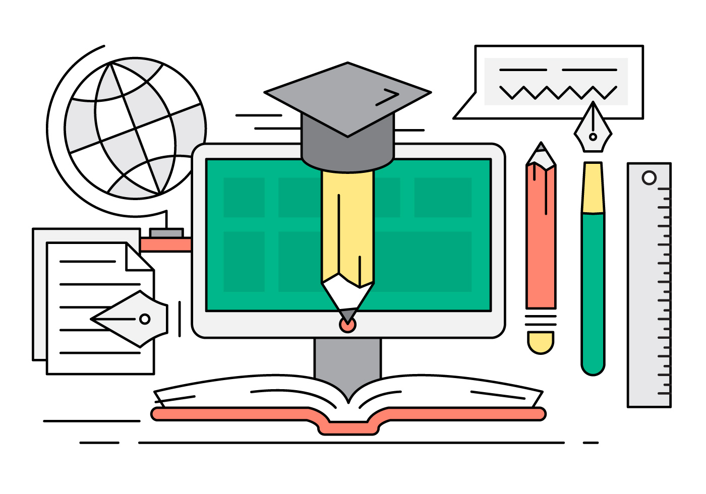 Free Linear Online Education Illustration - Download Free Vector Art ...