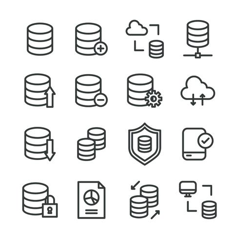 Outlined Icons About Data Base