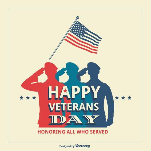 USA Veterans Day Retro Vector Poster