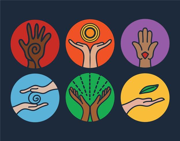 Healing hands vector set