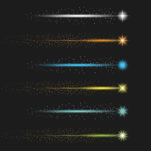 Colorful Stardust With Tail Vector Collection