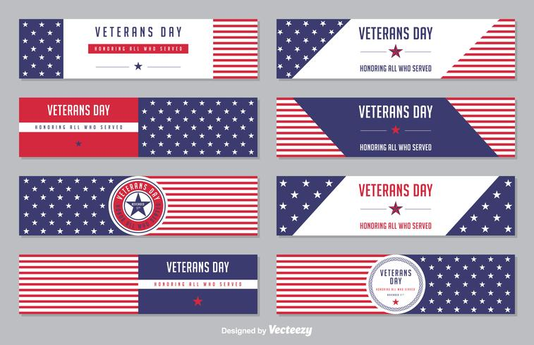 Veterans Day Stars And Stripes Vector Banner Set