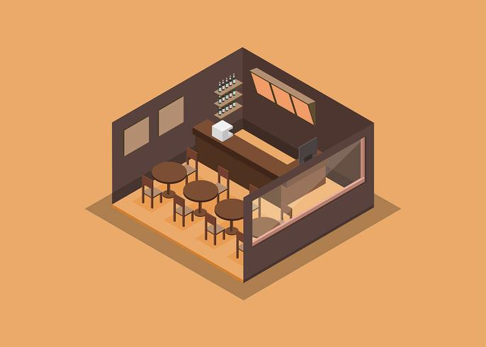 Canteen Interior Isometric Free Vector