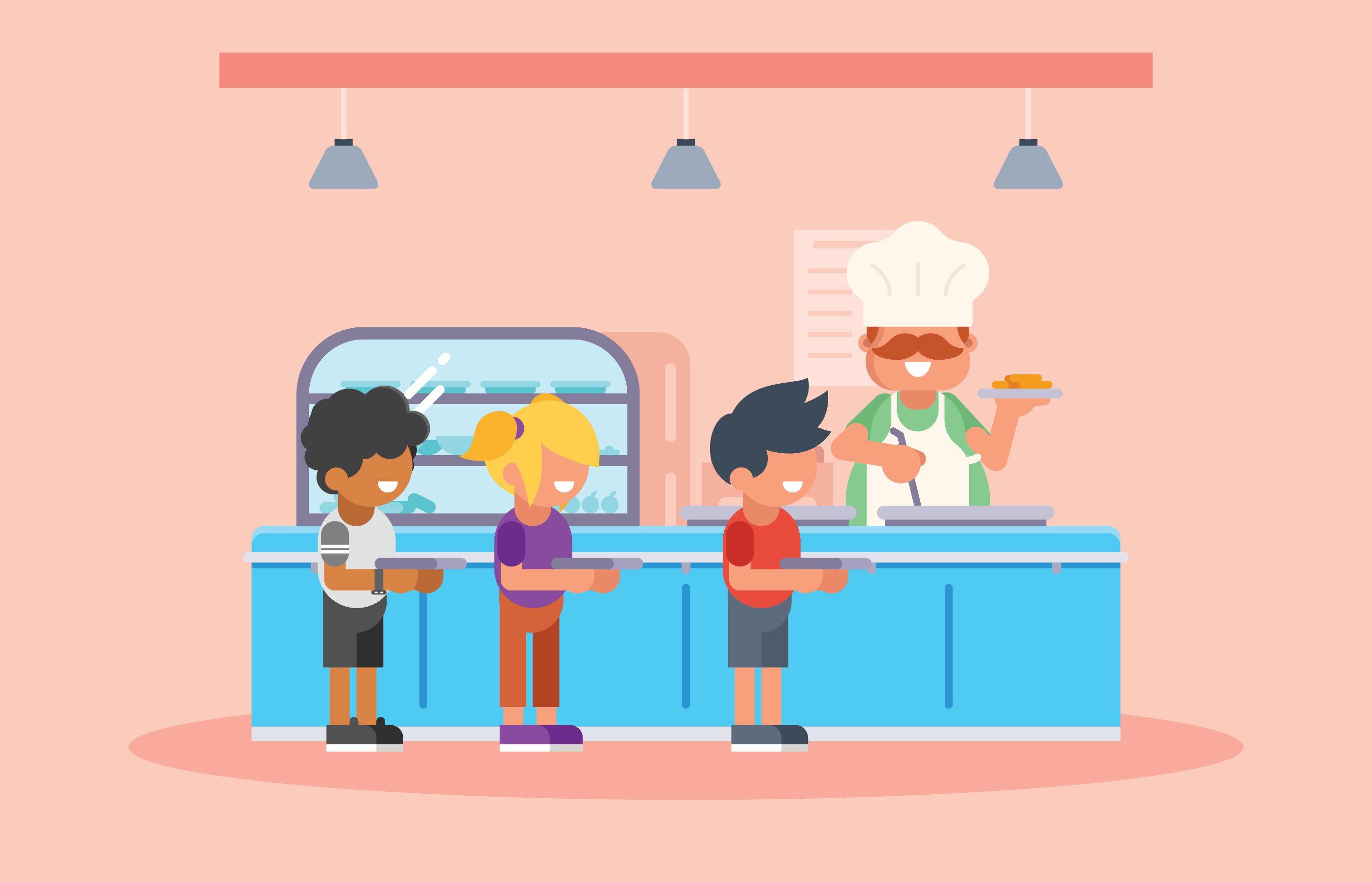 kids lining up in school canteen - download free vector art, stock