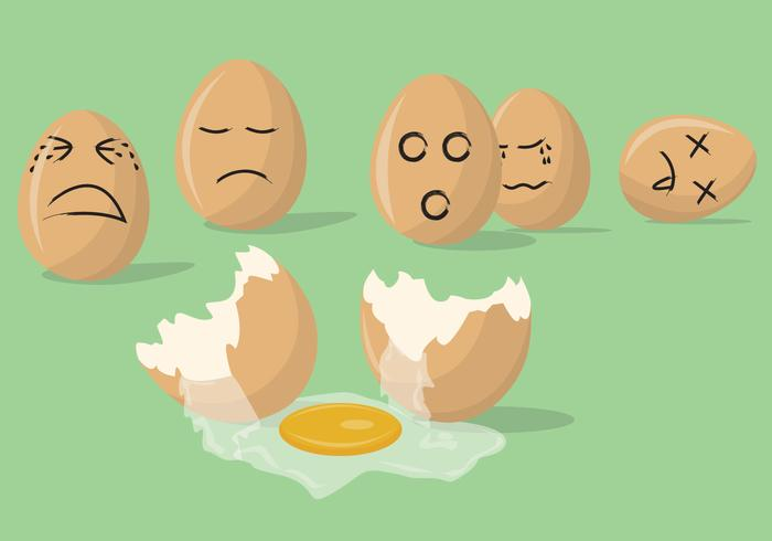 Sad Broken Eggs Vectors