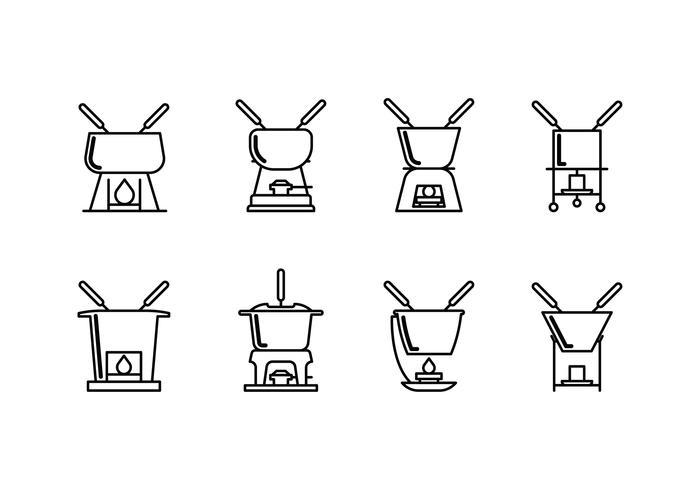 Caquelon fondue set linear icon